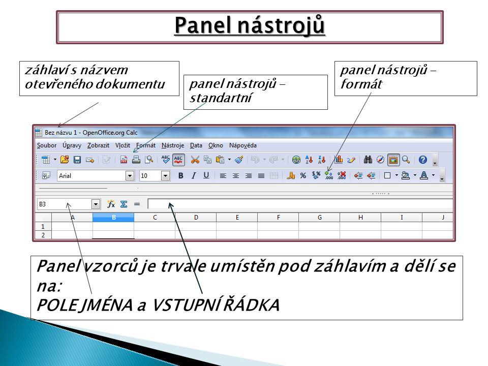 Panel nástrojů záhlaví s názvem otevřeného dokumentu panel nástrojů - standartní panel nástrojů - formát Panel vzorců je trvale umístěn pod záhlavím a dělí se na: POLE JMÉNA a VSTUPNÍ ŘÁDKA Panel nástrojů