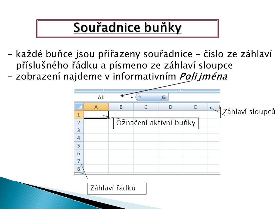 Záhlaví sloupců Záhlaví řádků Označení aktivní buňky Souřadnice buňky - každé buňce jsou přiřazeny souřadnice – číslo ze záhlaví příslušného řádku a písmeno ze záhlaví sloupce - zobrazení najdeme v informativním Poli jména