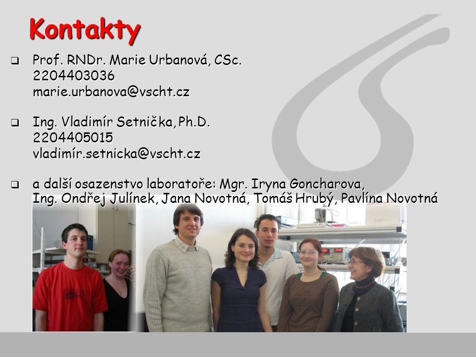 Kontakty  Prof.RNDr. Marie Urbanová, CSc. 2204403036marie.urbanova@vscht.cz  Ing.