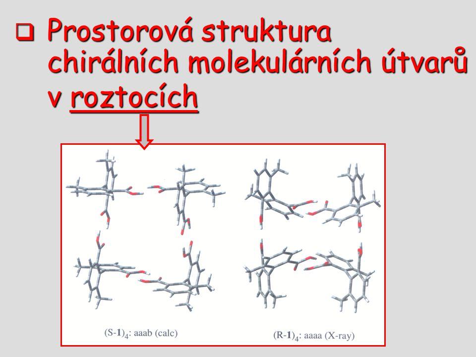  Prostorová struktura chirálních molekulárních útvarů v roztocích v roztocích