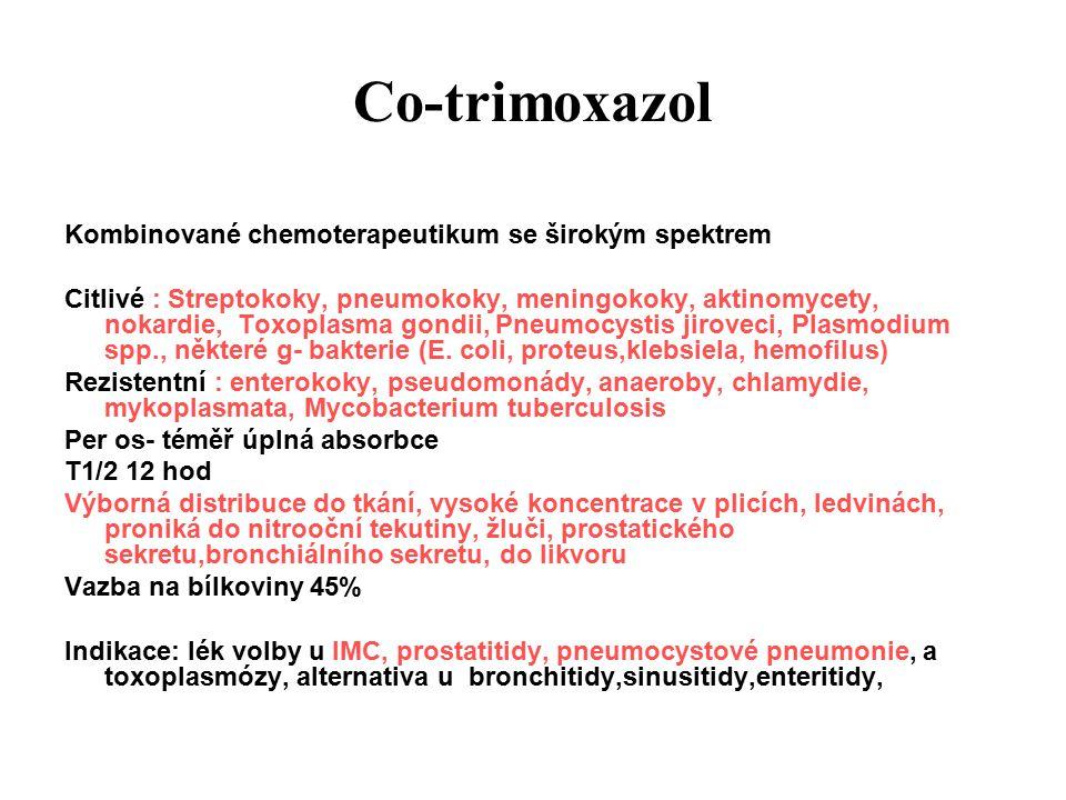 Co-trimoxazol Různé firemní názvy: Biseptol, Bismoral, Cotrimoxazol, Primotren, Sumetrolim Dávkování: 480mg tbl.