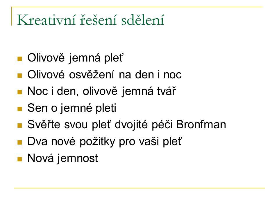 Kreativní řešení sdělení Olivově jemná pleť Olivové osvěžení na den i noc Noc i den, olivově jemná tvář Sen o jemné pleti Svěřte svou pleť dvojité péč
