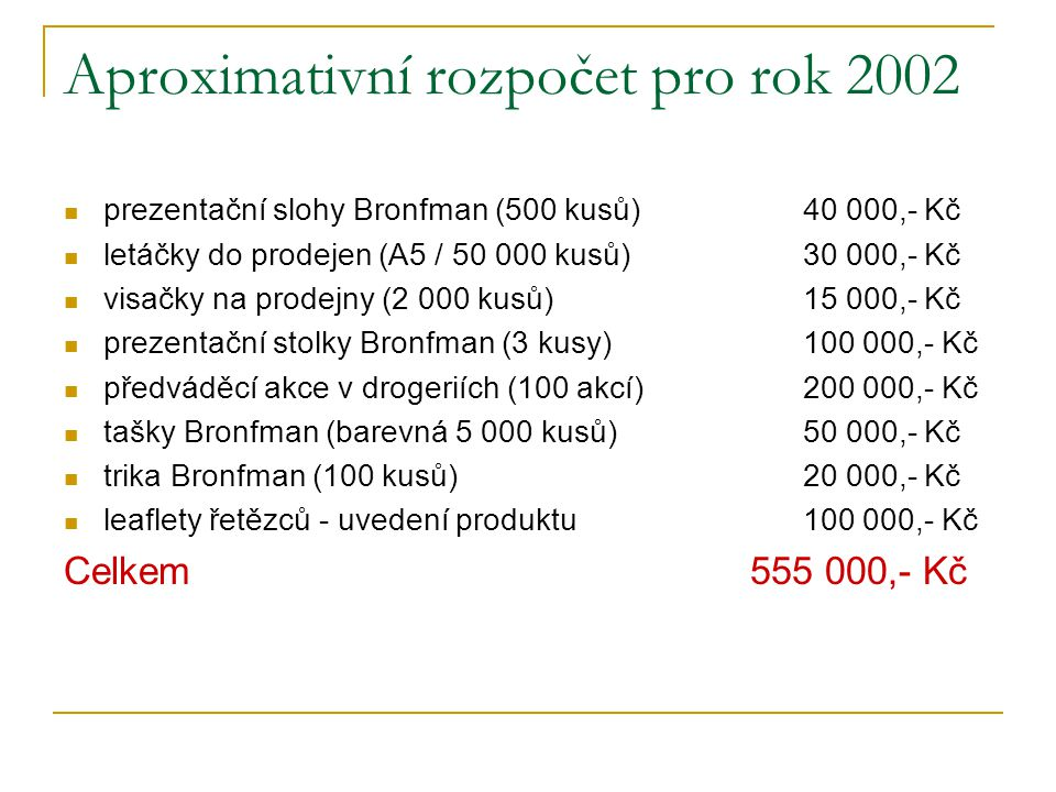 Aproximativní rozpočet pro rok 2002 prezentační slohy Bronfman (500 kusů)40 000,- Kč letáčky do prodejen (A5 / 50 000 kusů)30 000,- Kč visačky na prodejny (2 000 kusů)15 000,- Kč prezentační stolky Bronfman (3 kusy)100 000,- Kč předváděcí akce v drogeriích (100 akcí)200 000,- Kč tašky Bronfman (barevná 5 000 kusů)50 000,- Kč trika Bronfman (100 kusů)20 000,- Kč leaflety řetězců - uvedení produktu100 000,- Kč Celkem 555 000,- Kč