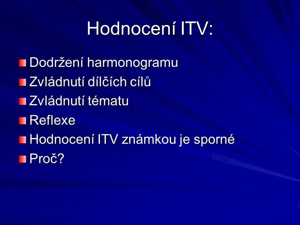 Hodnocení ITV: Dodržení harmonogramu Zvládnutí dílčích cílů Zvládnutí tématu Reflexe Hodnocení ITV známkou je sporné Proč?