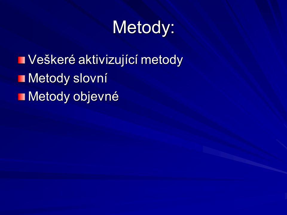Metody: Veškeré aktivizující metody Metody slovní Metody objevné