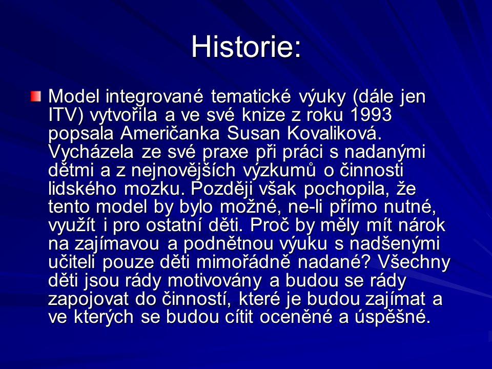 Historie: Model integrované tematické výuky (dále jen ITV) vytvořila a ve své knize z roku 1993 popsala Američanka Susan Kovaliková.