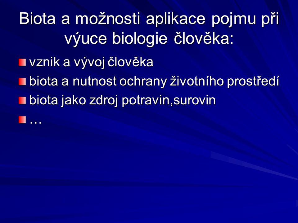 Biota a možnosti aplikace pojmu při výuce biologie člověka: vznik a vývoj člověka biota a nutnost ochrany životního prostředí biota jako zdroj potravin,surovin …