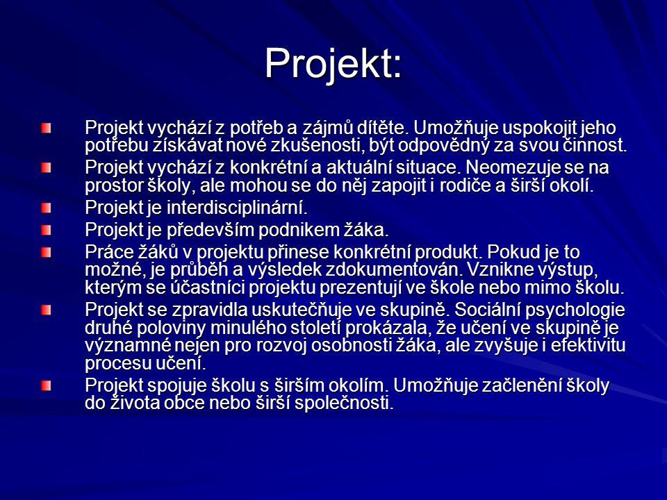 Projekt: Projekt vychází z potřeb a zájmů dítěte.