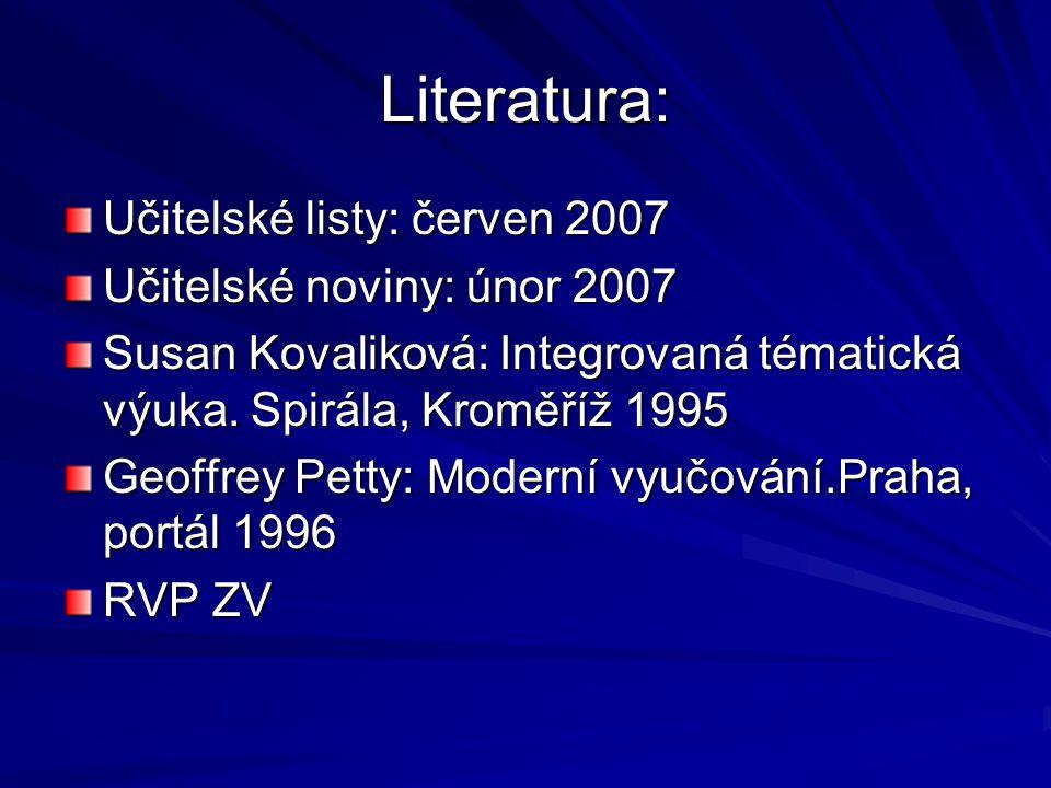 Literatura: Učitelské listy: červen 2007 Učitelské noviny: únor 2007 Susan Kovaliková: Integrovaná tématická výuka.