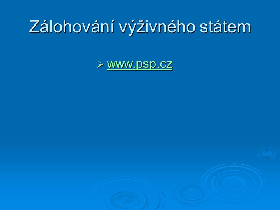 Zálohování výživného státem  www.psp.cz www.psp.cz