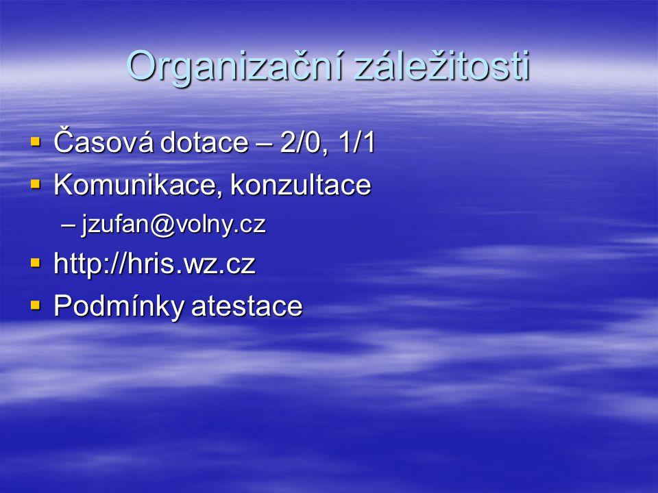 Organizační záležitosti  Časová dotace – 2/0, 1/1  Komunikace, konzultace –jzufan@volny.cz  http://hris.wz.cz  Podmínky atestace