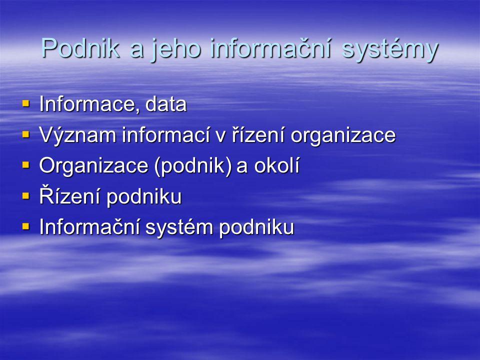 Podnik a jeho informační systémy  Informace, data  Význam informací v řízení organizace  Organizace (podnik) a okolí  Řízení podniku  Informační