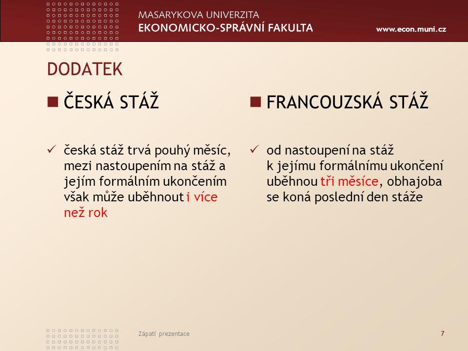 www.econ.muni.cz DODATEK ČESKÁ STÁŽ česká stáž trvá pouhý měsíc, mezi nastoupením na stáž a jejím formálním ukončením však může uběhnout i více než rok FRANCOUZSKÁ STÁŽ od nastoupení na stáž k jejímu formálnímu ukončení uběhnou tři měsíce, obhajoba se koná poslední den stáže Zápatí prezentace7