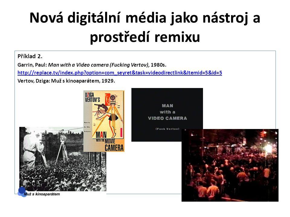 Nová digitální média jako nástroj a prostředí remixu Příklad 2. Garrin, Paul: Man with a Video camera (Fucking Vertov), 1980s. http://replace.tv/index