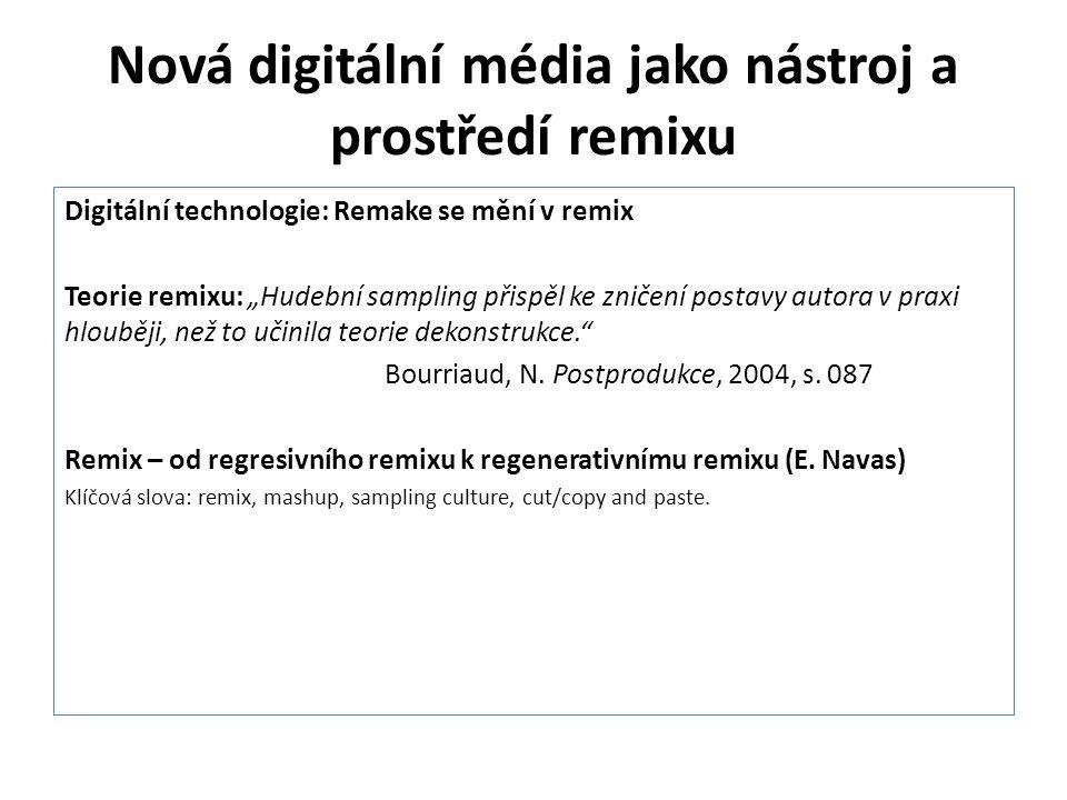 """Nová digitální média jako nástroj a prostředí remixu Digitální technologie: Remake se mění v remix Teorie remixu: """"Hudební sampling přispěl ke zničení"""