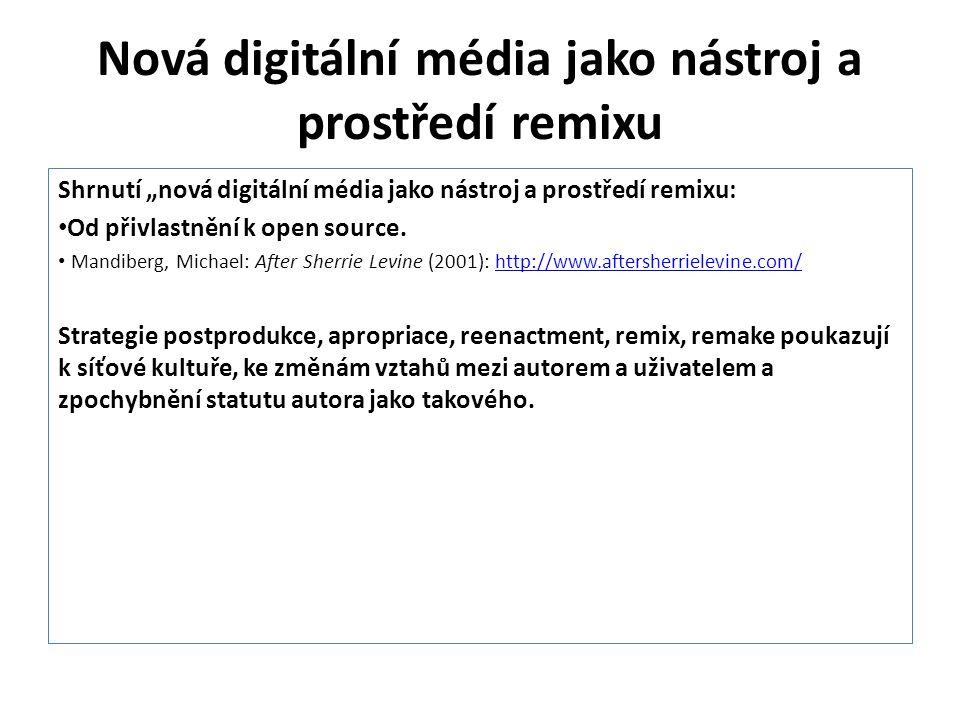 """Nová digitální média jako nástroj a prostředí remixu Shrnutí """"nová digitální média jako nástroj a prostředí remixu: Od přivlastnění k open source. Man"""