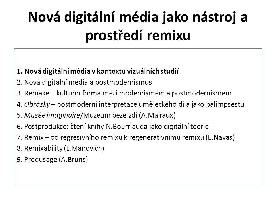 """Nová digitální média jako nástroj a prostředí remixu Digitální technologie: Remake se mění v remix Teorie remixu: """"Hudební sampling přispěl ke zničení postavy autora v praxi hlouběji, než to učinila teorie dekonstrukce. Bourriaud, N."""