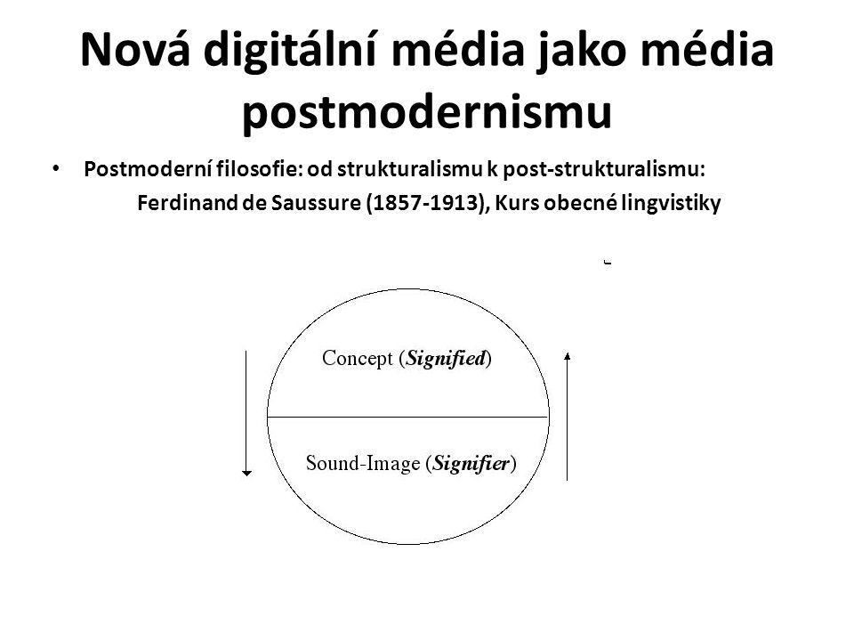 Nová digitální média jako média postmodernismu Postmoderní filosofie: od strukturalismu k post-strukturalismu: Ferdinand de Saussure (1857-1913), Kurs