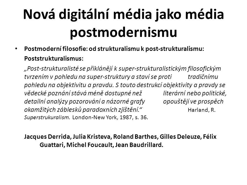 """Nová digitální média jako média postmodernismu Postmoderní filosofie: od strukturalismu k post-strukturalismu: Poststrukturalismus: """"Post-strukturalis"""