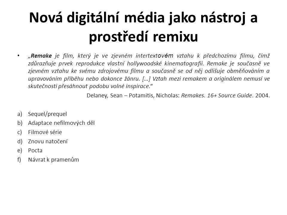 """Nová digitální média jako nástroj a prostředí remixu Postprodukce: pohyb """"muzeem beze zdí … Bourriaud, Nicholas: Postprodukce, 2004 """"Činnosti, o kterých je zde řeč nespočívají v produkování nějakých ´obrazů obrazů´, což by byl manýristický postoj, ani v nářcích na téma ´všechno už tady bylo´, nýbrž jde o to vymyslet ´užívací protokoly´ pro již existující způsoby zobrazování a formální struktury."""