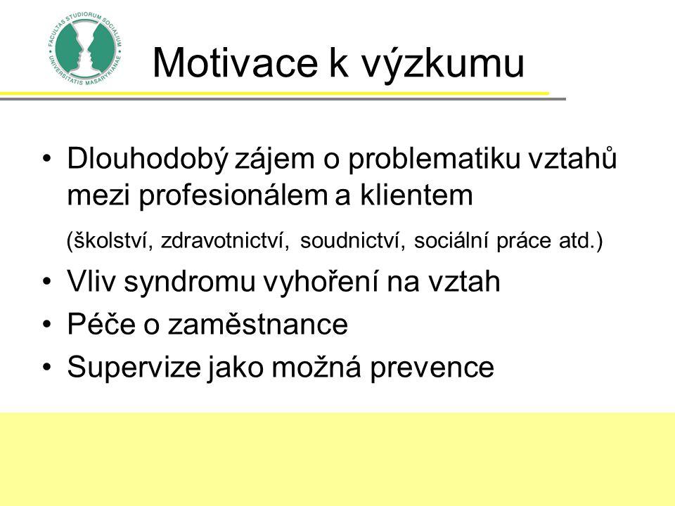 Motivace k výzkumu Dlouhodobý zájem o problematiku vztahů mezi profesionálem a klientem (školství, zdravotnictví, soudnictví, sociální práce atd.) Vli