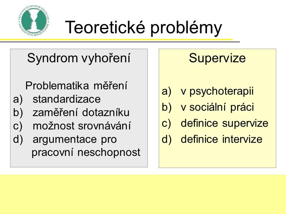 Supervize a)v psychoterapii b)v sociální práci c)definice supervize d)definice intervize Teoretické problémy Syndrom vyhoření Problematika měření a)st