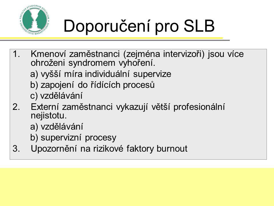 Doporučení pro SLB 1.Kmenoví zaměstnanci (zejména intervizoři) jsou více ohroženi syndromem vyhoření. a) vyšší míra individuální supervize b) zapojení