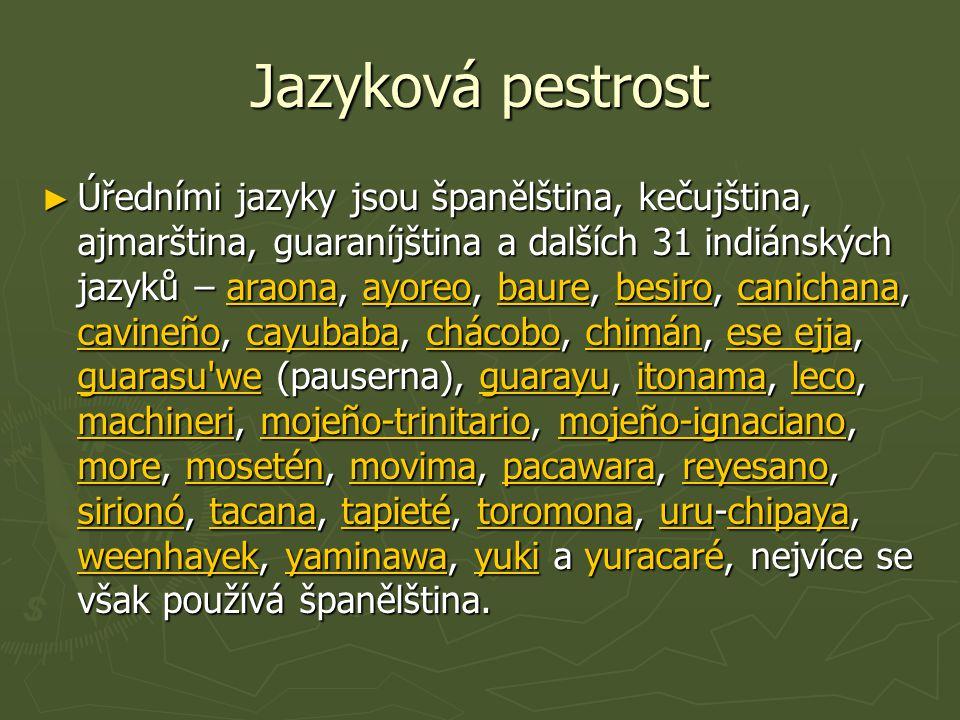 Jazyková pestrost ► Úředními jazyky jsou španělština, kečujština, ajmarština, guaraníjština a dalších 31 indiánských jazyků – araona, ayoreo, baure, b