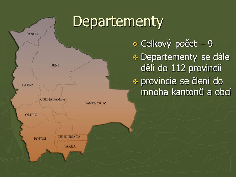 Departementy  Celkový počet – 9  Departementy se dále dělí do 112 provincií  provincie se člení do mnoha kantonů a obcí