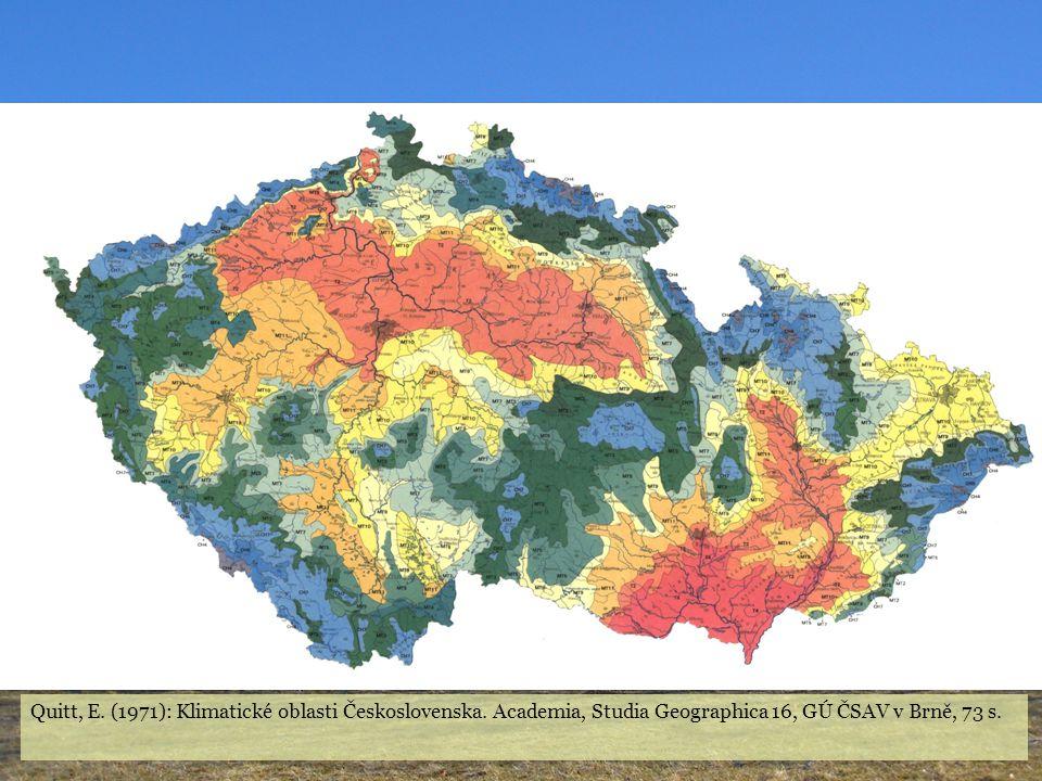Quitt, E. (1971): Klimatické oblasti Československa. Academia, Studia Geographica 16, GÚ ČSAV v Brně, 73 s.