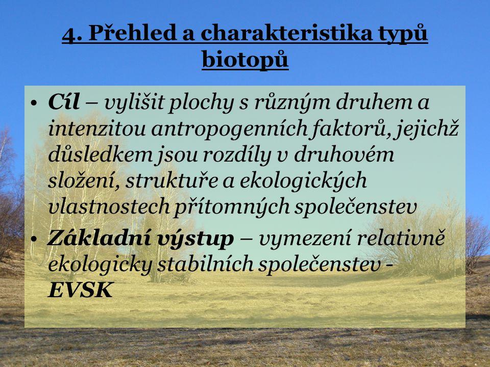 4. Přehled a charakteristika typů biotopů Cíl – vylišit plochy s různým druhem a intenzitou antropogenních faktorů, jejichž důsledkem jsou rozdíly v d