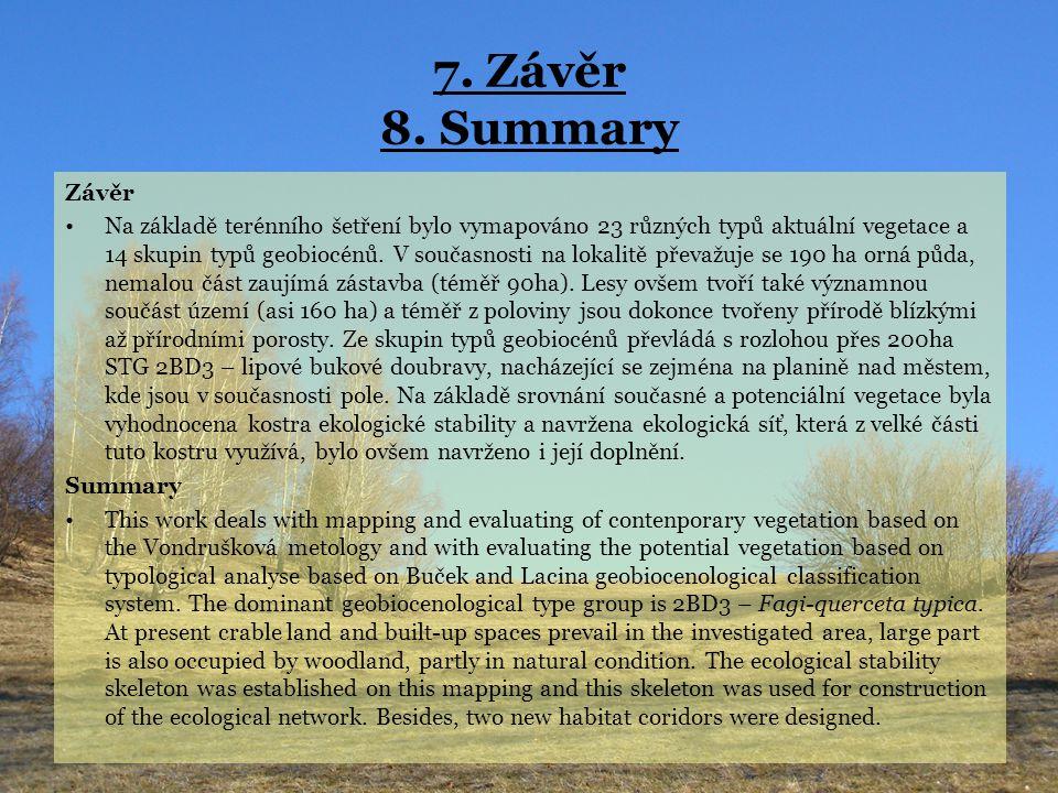 7. Závěr 8. Summary Závěr Na základě terénního šetření bylo vymapováno 23 různých typů aktuální vegetace a 14 skupin typů geobiocénů. V současnosti na