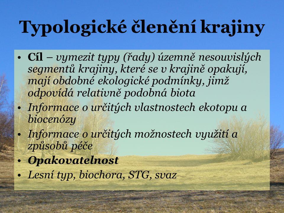 Individuální členění krajiny Cíl – vystihnout souvislé, z určitého hlediska relativně homogenní celky lišící se do určité míry složením bioty Jedinečnost, neopakovatelnost území Biogeografická provincie (5.10 5 –10 6 km 2 ) Biogeografická podprovincie (10 5 km 2 ) Biogeografický region – bioregion (10 2 -10 3 km 2 ) PLO