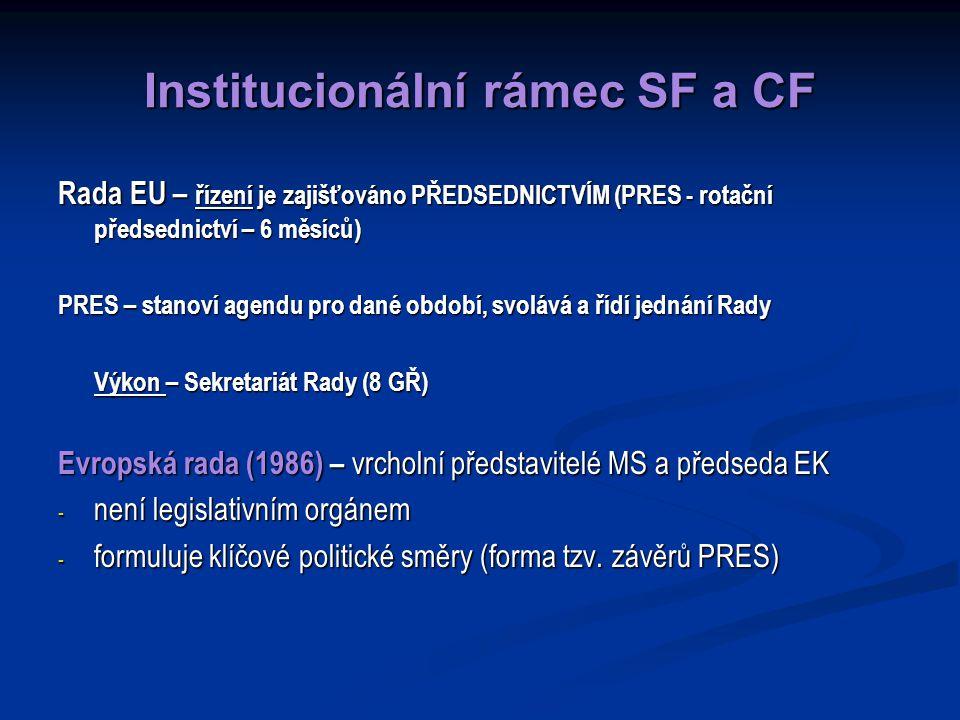 Institucionální rámec SF a CF Rada EU – řízení je zajišťováno PŘEDSEDNICTVÍM (PRES - rotační předsednictví – 6 měsíců) PRES – stanoví agendu pro dané období, svolává a řídí jednání Rady Výkon – Sekretariát Rady (8 GŘ) Evropská rada (1986) – vrcholní představitelé MS a předseda EK - není legislativním orgánem - formuluje klíčové politické směry (forma tzv.