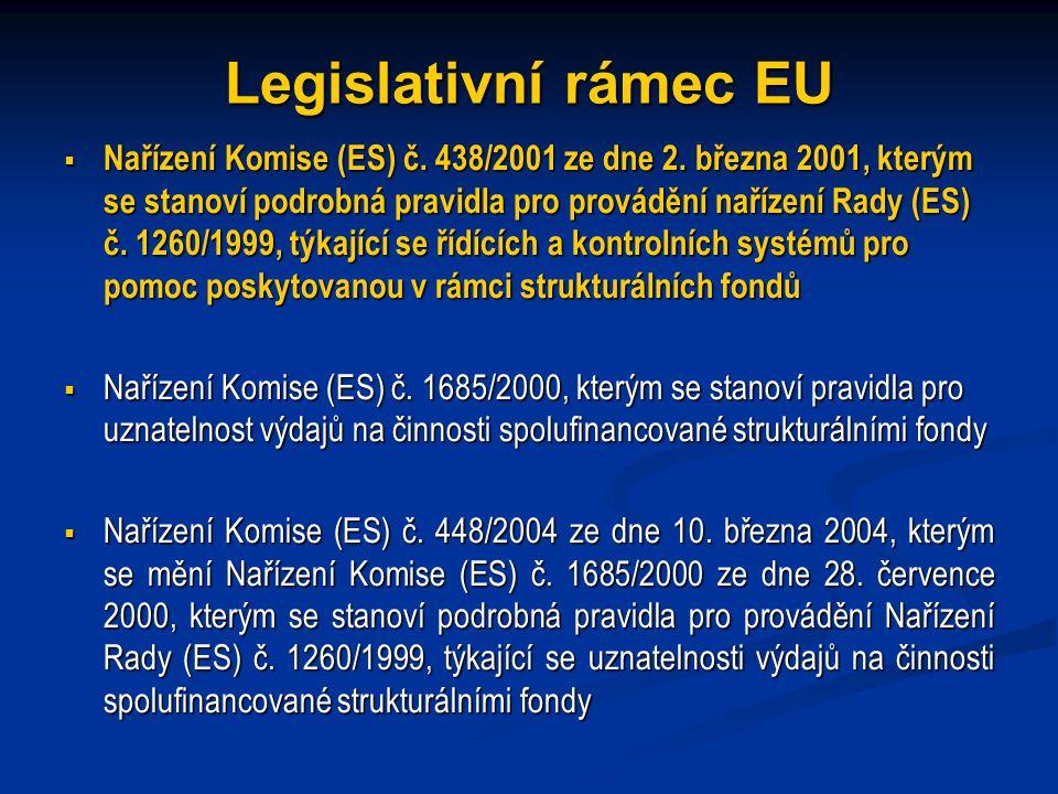 Legislativní rámec EU  Nařízení Komise (ES) č.438/2001 ze dne 2.