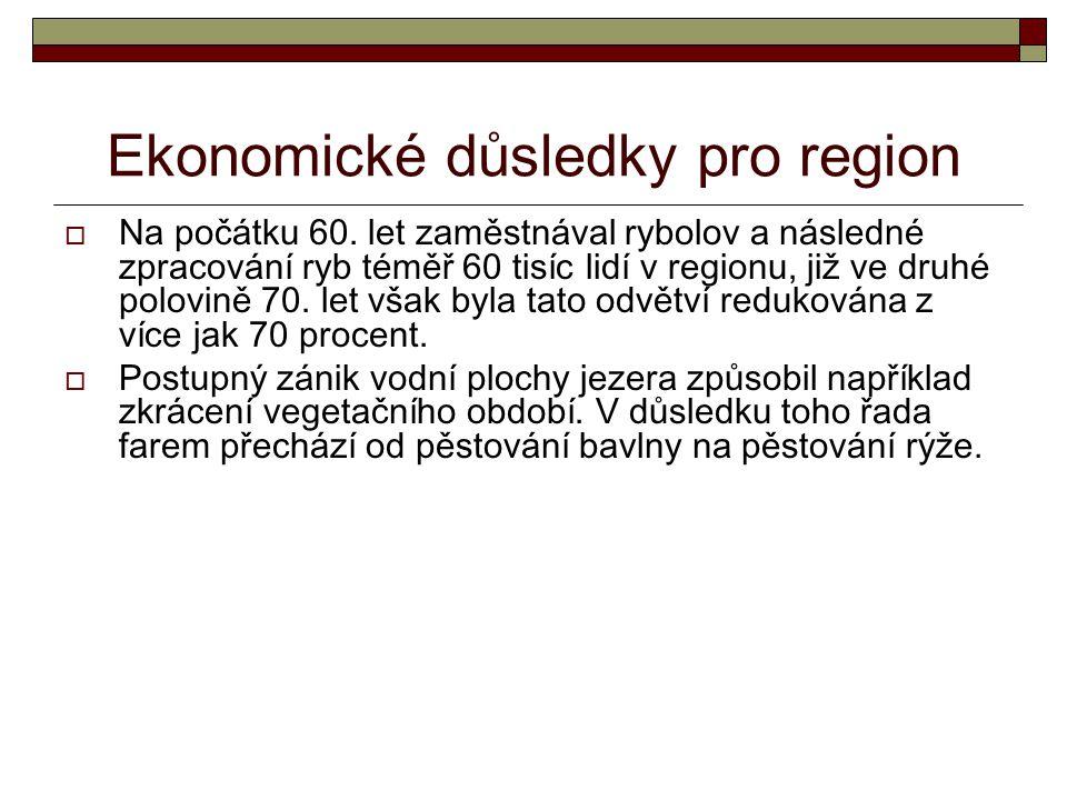 Ekonomické důsledky pro region  Na počátku 60.