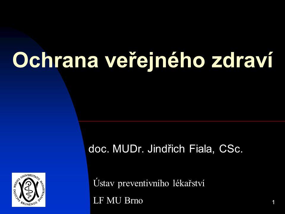 1 Ochrana veřejného zdraví doc. MUDr. Jindřich Fiala, CSc. Ústav preventivního lékařství LF MU Brno