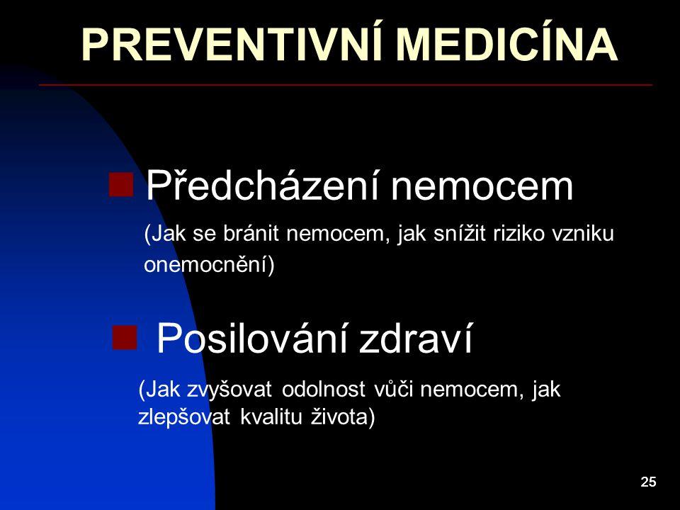 25 PREVENTIVNÍ MEDICÍNA Předcházení nemocem Posilování zdraví (Jak se bránit nemocem, jak snížit riziko vzniku onemocnění) (Jak zvyšovat odolnost vůči