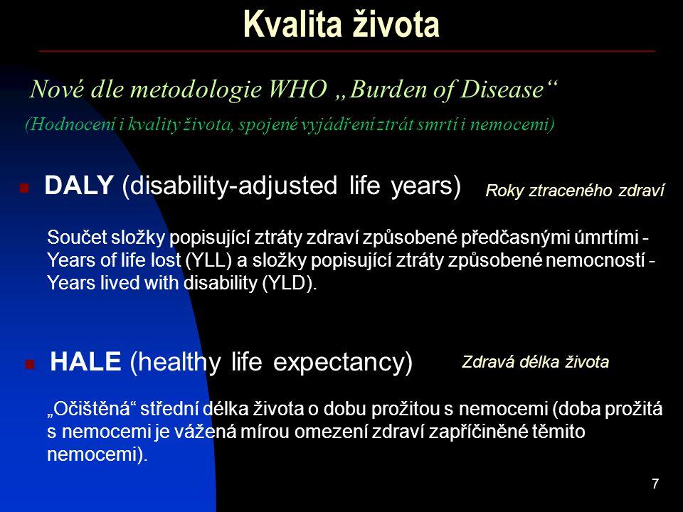"7 Kvalita života Nové dle metodologie WHO ""Burden of Disease"" DALY (disability-adjusted life years) HALE (healthy life expectancy) (Hodnocení i kvalit"