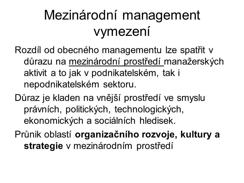 Mezinárodní management vymezení Rozdíl od obecného managementu lze spatřit v důrazu na mezinárodní prostředí manažerských aktivit a to jak v podnikatelském, tak i nepodnikatelském sektoru.