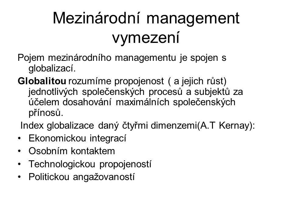 Mezinárodní management vymezení Pojem mezinárodního managementu je spojen s globalizací. Globalitou rozumíme propojenost ( a jejich růst) jednotlivých