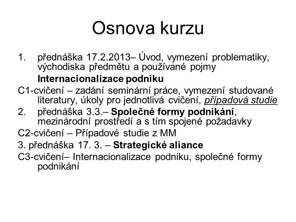 Osnova kurzu 1.přednáška 17.2.2013– Úvod, vymezení problematiky, východiska předmětu a používané pojmy Internacionalizace podniku C1-cvičení – zadání