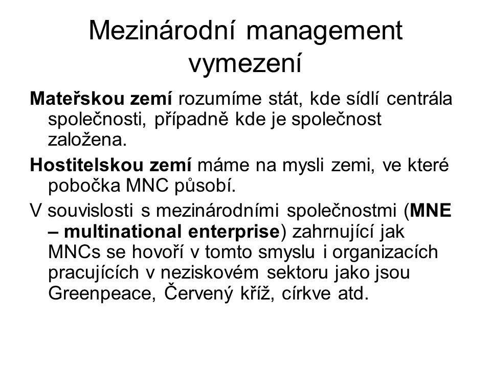 Mezinárodní management vymezení Mateřskou zemí rozumíme stát, kde sídlí centrála společnosti, případně kde je společnost založena. Hostitelskou zemí m