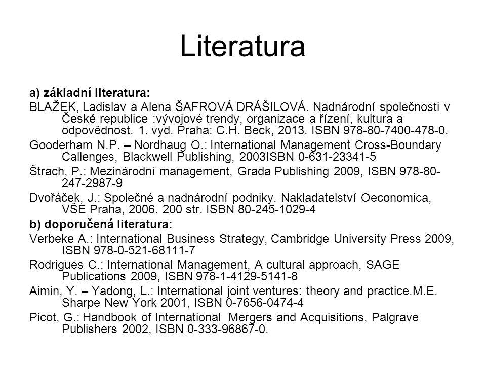 Literatura a) základní literatura: BLAŽEK, Ladislav a Alena ŠAFROVÁ DRÁŠILOVÁ. Nadnárodní společnosti v České republice :vývojové trendy, organizace a