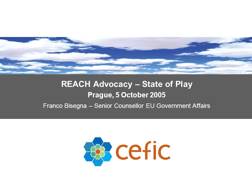REACH Advocacy – State of Play Prague, 5 October 2005 Franco Bisegna – Senior Counsellor EU Government Affairs