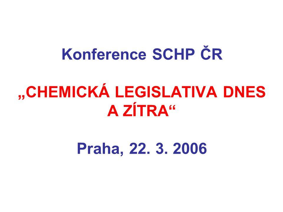 """Konference SCHP ČR """"CHEMICKÁ LEGISLATIVA DNES A ZÍTRA Praha, 22. 3. 2006"""