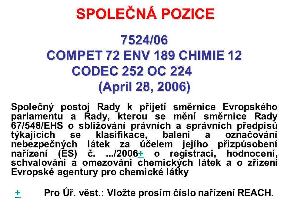 SPOLEČNÁ POZICE 7524/06 COMPET 72 ENV 189 CHIMIE 12 CODEC 252 OC 224 (April 28, 2006) Společný postoj Rady k přijetí směrnice Evropského parlamentu a Rady, kterou se mění směrnice Rady 67/548/EHS o sbližování právních a správních předpisů týkajících se klasifikace, balení a označování nebezpečných látek za účelem jejího přizpůsobení nařízení (ES) č..../2006+ o registraci, hodnocení, schvalování a omezování chemických látek a o zřízení Evropské agentury pro chemické látky+ + Pro Úř.