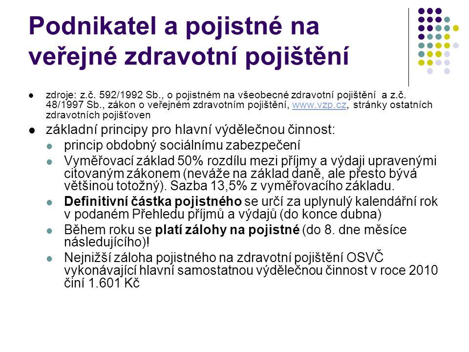Podnikatel a pojistné na veřejné zdravotní pojištění zdroje: z.č.