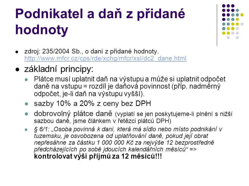 Podnikatel a daň z přidané hodnoty zdroj: 235/2004 Sb., o dani z přidané hodnoty.
