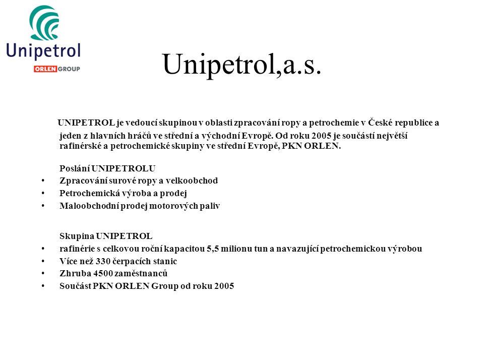 Unipetrol,a.s. UNIPETROL je vedoucí skupinou v oblasti zpracování ropy a petrochemie v České republice a jeden z hlavních hráčů ve střední a východní
